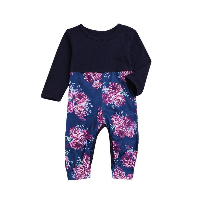 Baby Little Girl Flower Long Sleeve Overalls Spring Jumpsuit