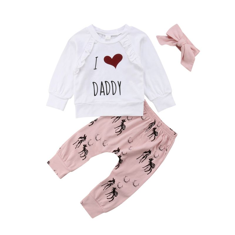 3-piece Infant Little Girl Spring Clothing Outfits Set I LOVE MUMMY DADDY Ruffle Jumper Sweatshirt +Reindeer Pants+Bow Headband