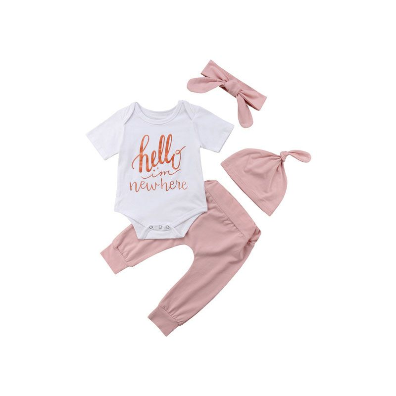 4-piece Infant Girl Spring Summer Casual Outing Set HELLO I AM NEW HERE Onesie +Pink Pants+Hat+Headband