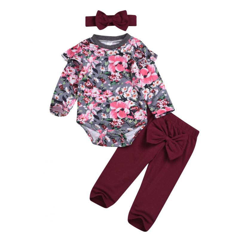 3-piece Baby Girl Spring Clothing Outfits Set Flutter Sleeve Flower Onesie+Red Big Bowknot Trousers+Headband