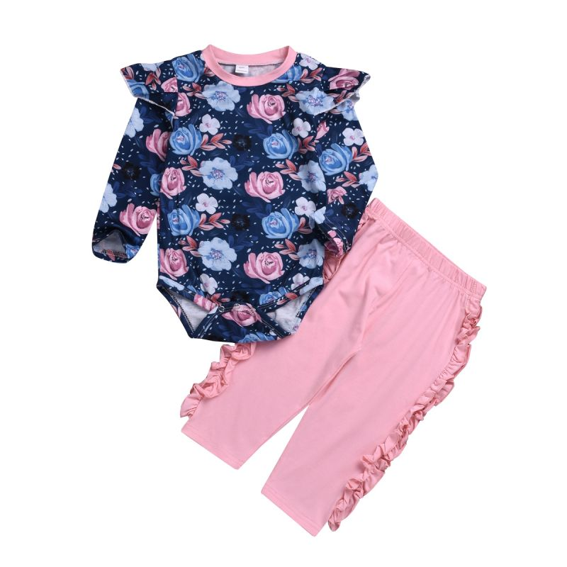 2-Piece Infant Girl Spring Casual Outing Clothes Set Flutter Sleeve Floral Bodysuit+ Ruffle Pink Trousers