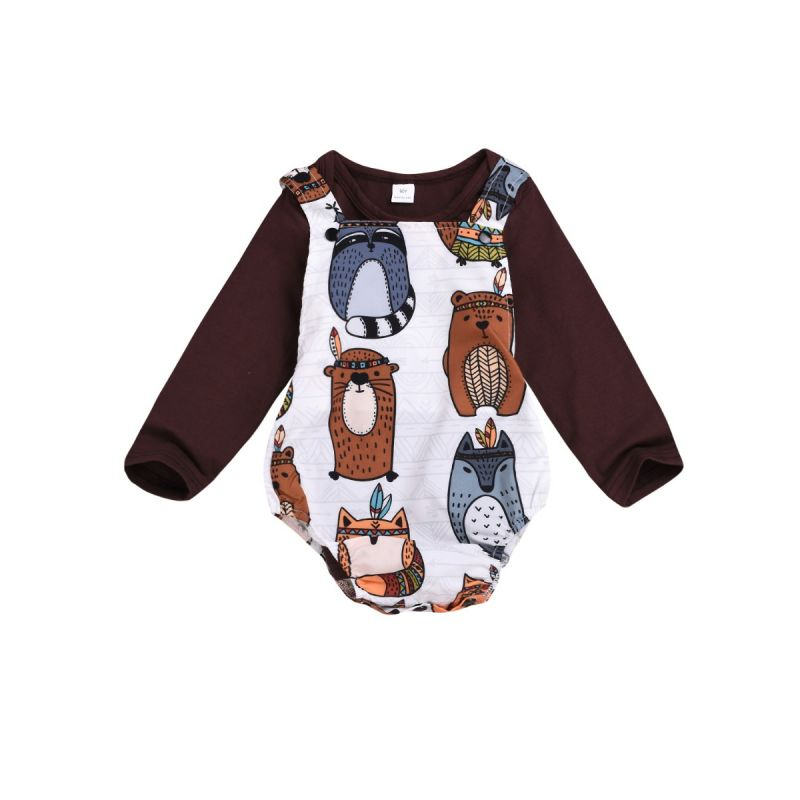 2-Piece Cute Cartoon Animal Infant Spring Romper Set Long Sleeve T-shirt+Suspender Romper