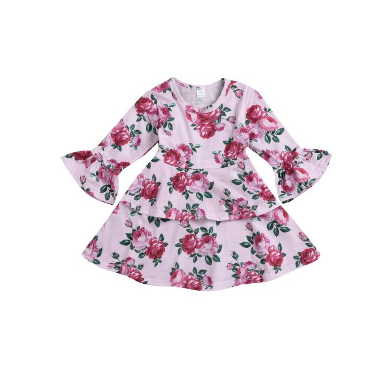 Spring Infant Little Girl Bell Sleeve Flower Casual One-piece Dress