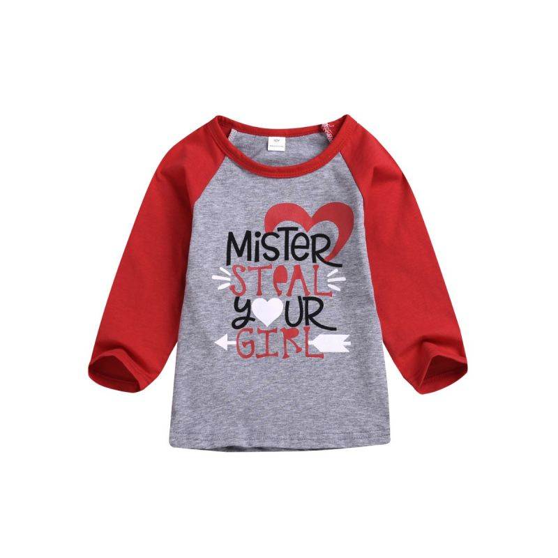 MISTER STEAL YOUR GIRL Print Toddler Infant Girl T-shirt Pullover Long-Sleeved