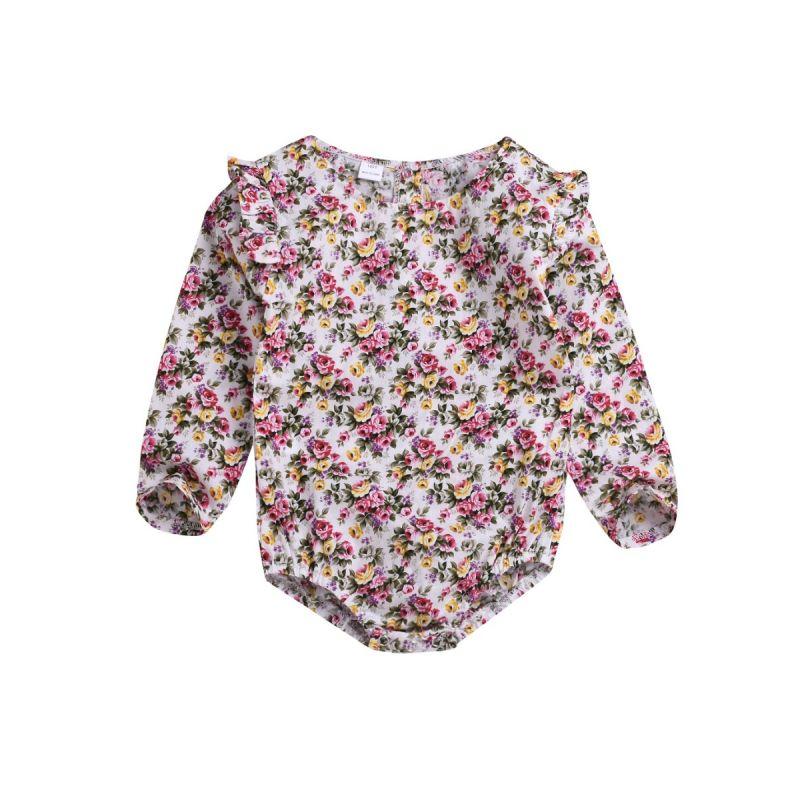 Spring Classic Infant Girl Flutter Long-sleeved Floral Onesie Bodysuit