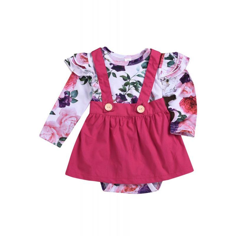 2-Piece Baby Girl Summer Holiday Clothing Outfits Set Flutter Sleeve Flower Onesie+ Jumper Skirt
