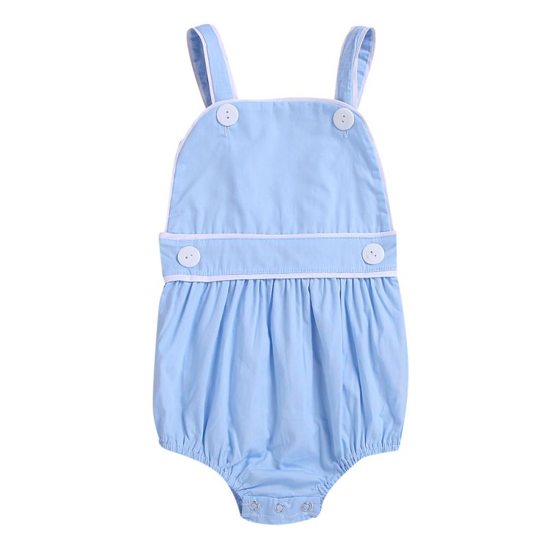 Summer Spanish Style Toddler Kids Suspender Romper Blue/Pink