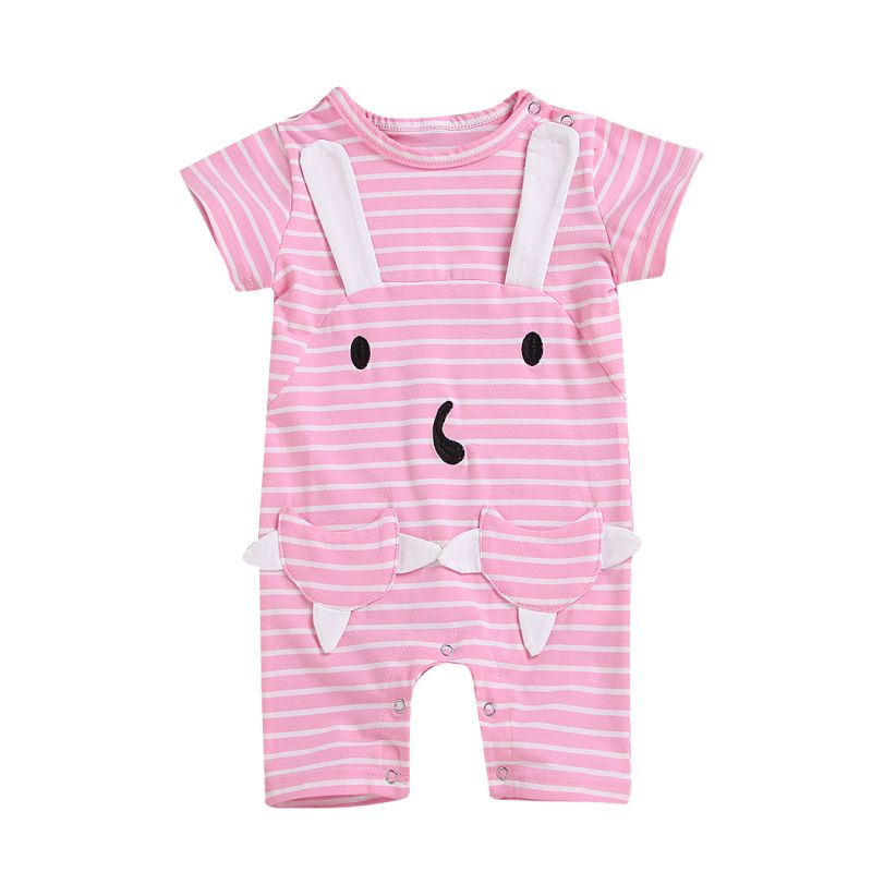 Cartoon Animal Striped Short-sleeved Overalls Playsuit