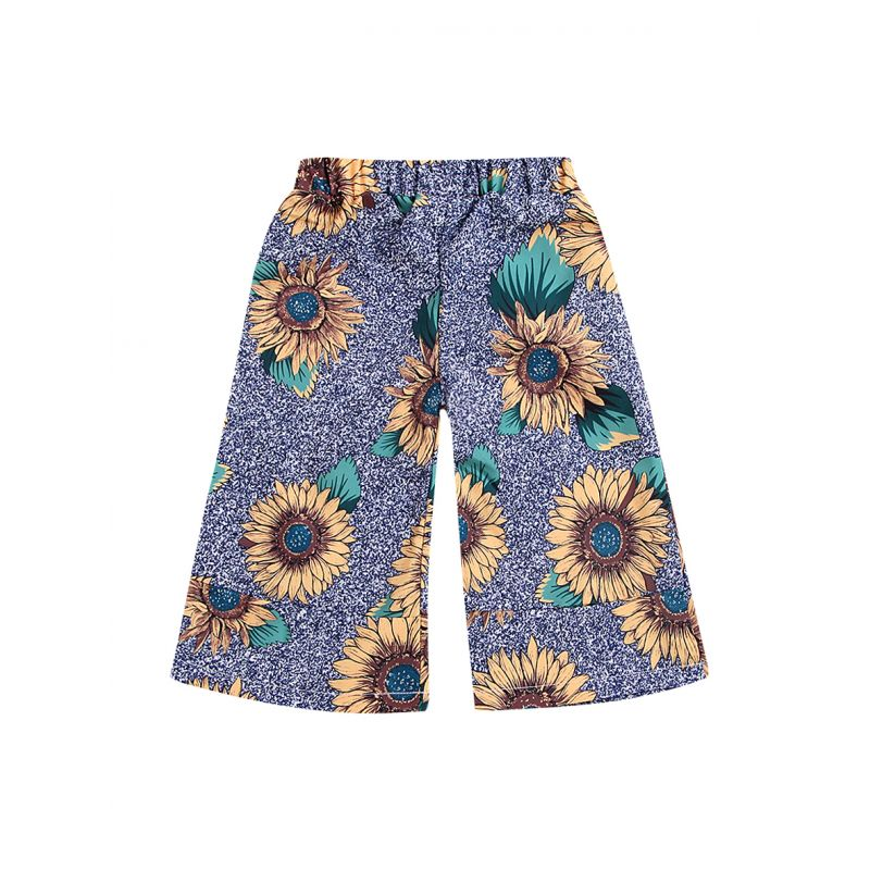 Stylish Toddler Big Girl Sunflower Print Casual Loose Pants