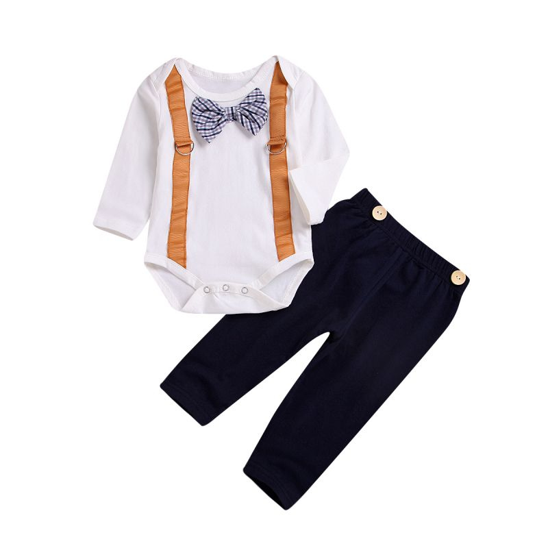 2-piece Spring Infant Bow Tie Bodysuit+Buttoned Solid Color Pants Set