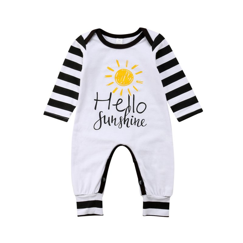 Hello Sunshine Print Striped Infant Overalls Long-sleeved Playsuit
