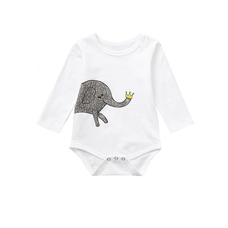Spring Elephant Long-sleeved Baby Bodysuit Onesie