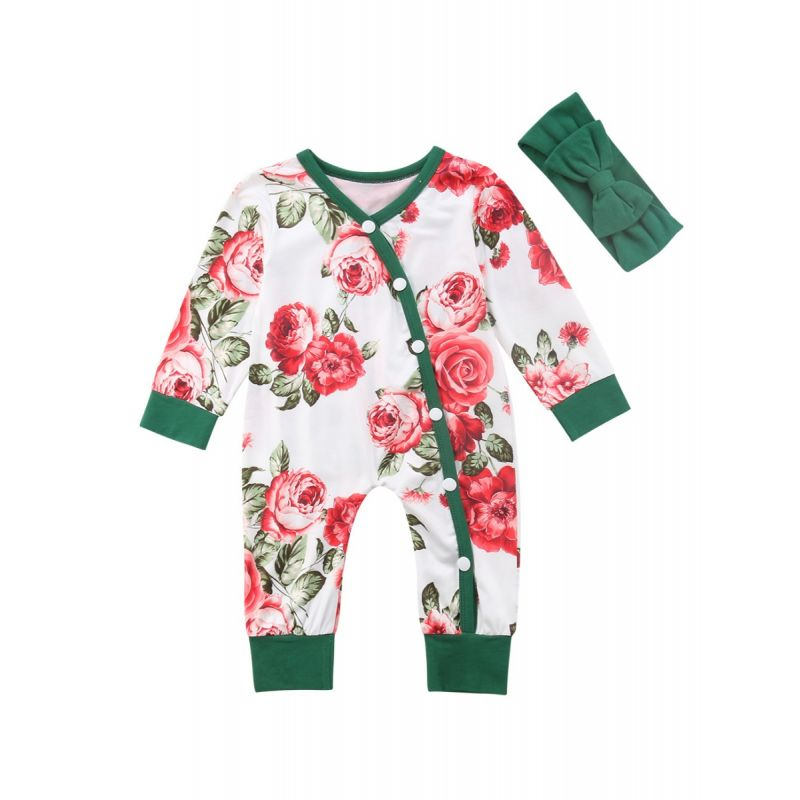 Long-sleeved Buttoned Flower Infant Girl Sleepsuit Overalls with Green Headband
