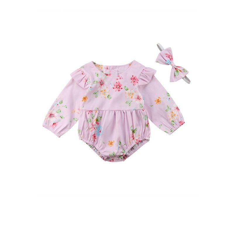 Infant Girl Flutter Long-sleeved Bodysuit Onesie with Headband