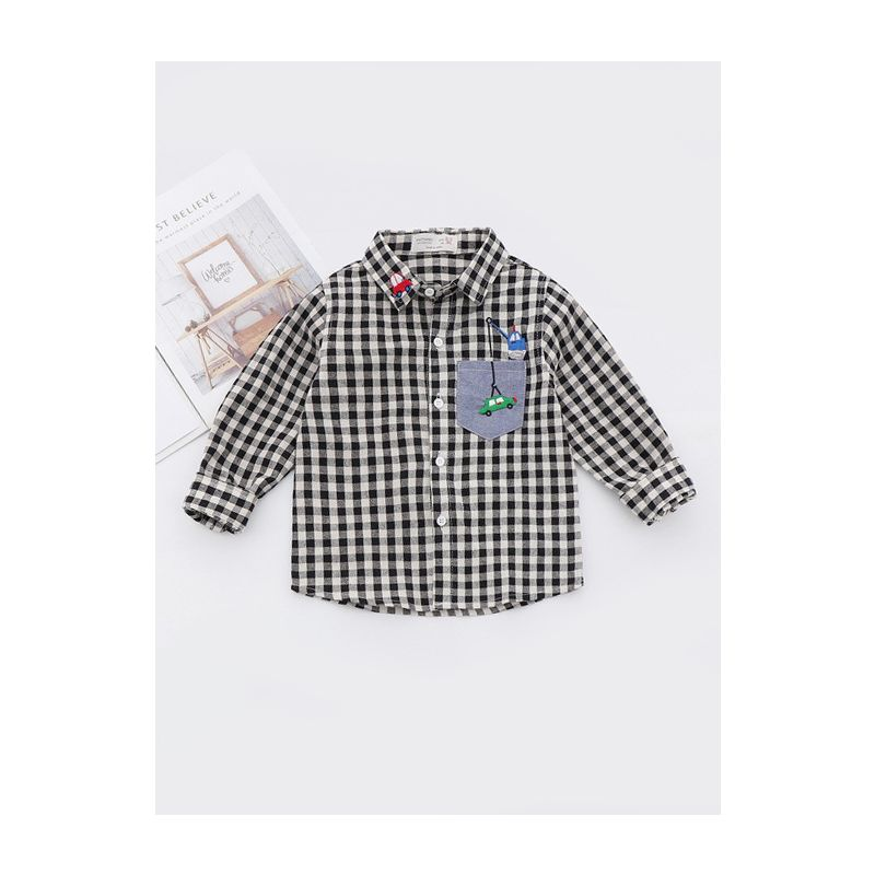 5-PACK Toddler Big School Boys Car Embroidery Plaid Casual Spring Shirt