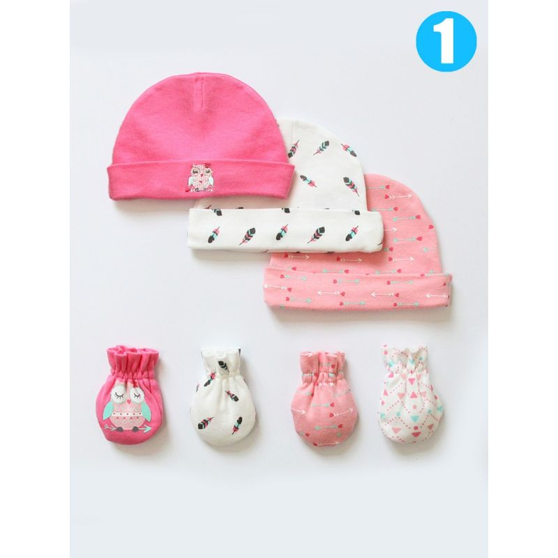 7-PACK Newborn Infant Cartoon Cotton Hat & No-Scratch Baby Mitts