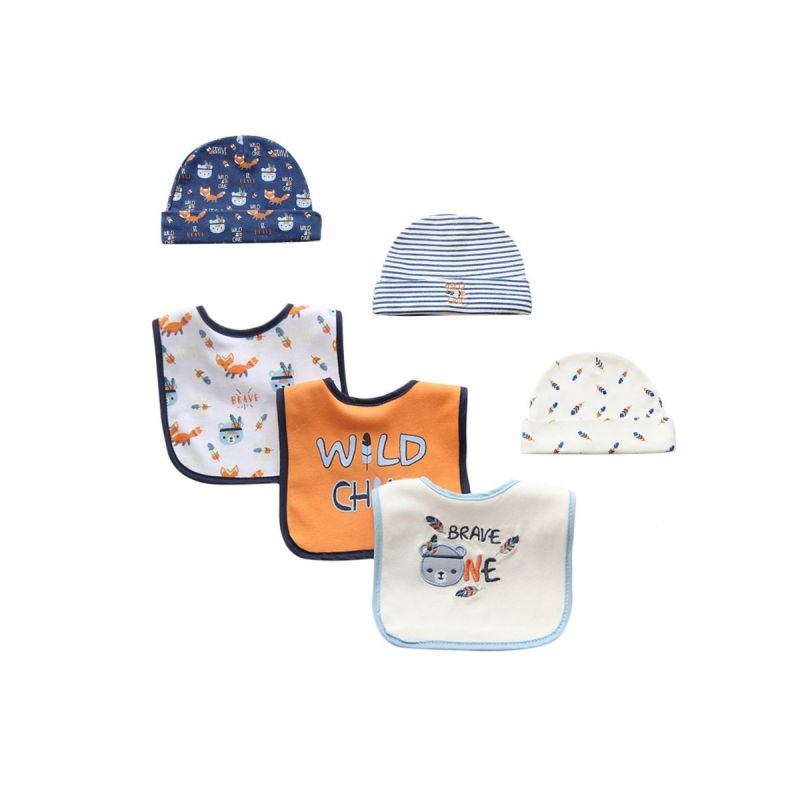 6-PACK Newborn Baby Cartoon Bear Hat & Bib Set