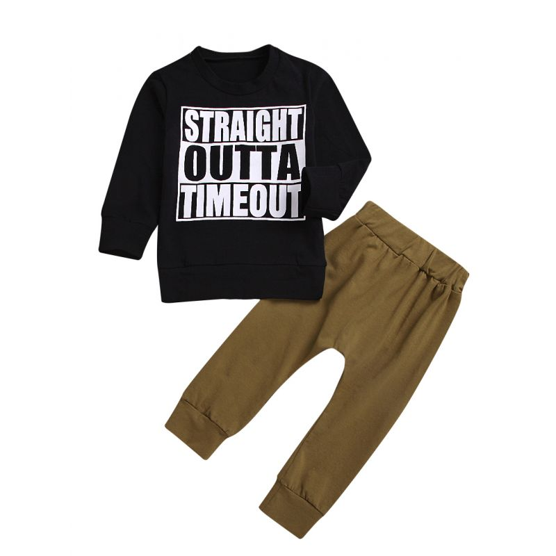 2-Piece Spring Baby Boys Casual Homewear Clothing Set STRAIGHT OUTTA TIMEOUT Letters Print Long-sleeved Pullover T-shirt+Pants