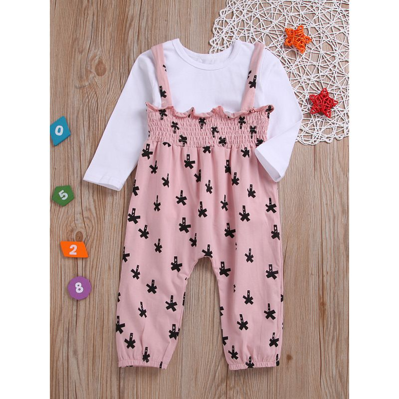 2-Piece Spring Toddler Infant Girl Casual Clothes Outfits Set White T-shirt +Printed Suspender Pants