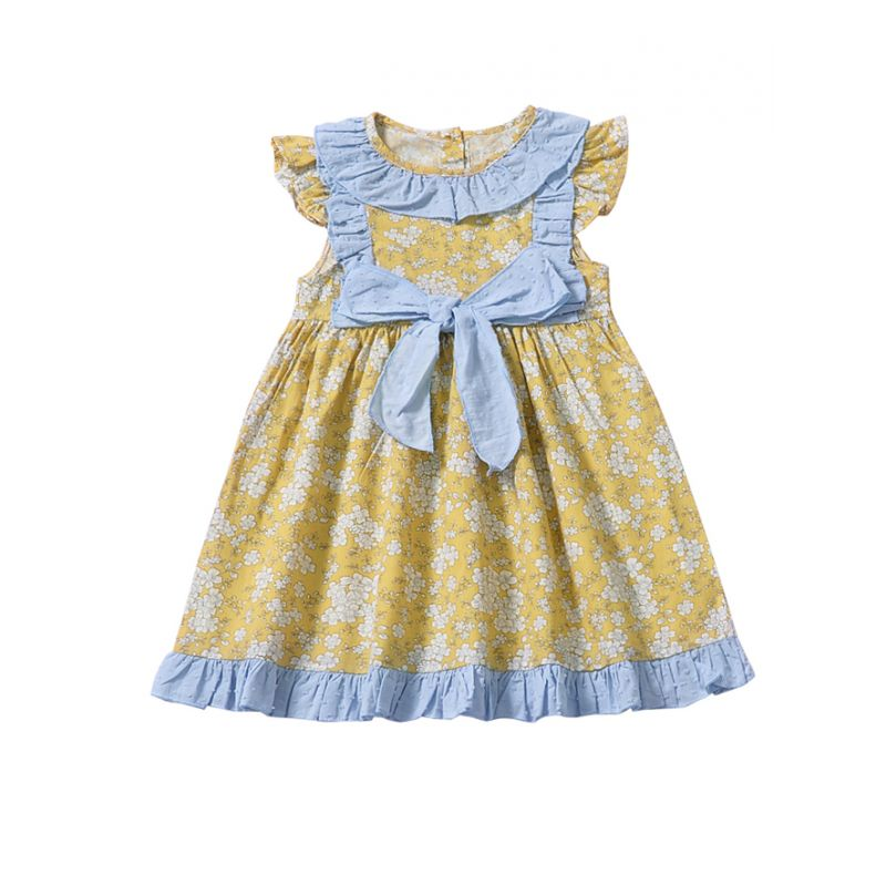 Summer Infant Girl Bow Flutter Sleeve Floral Dress