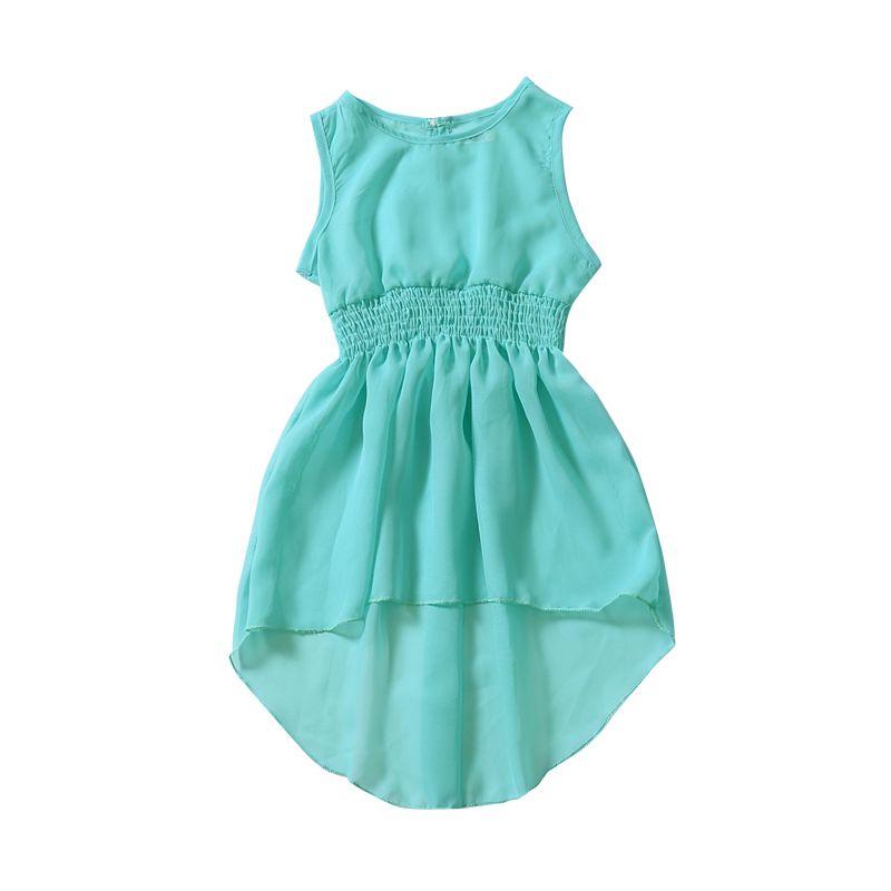 Summer Solid Color Sleeveless Asymmetrical Hemline Dress for Baby Little Girl Green/White