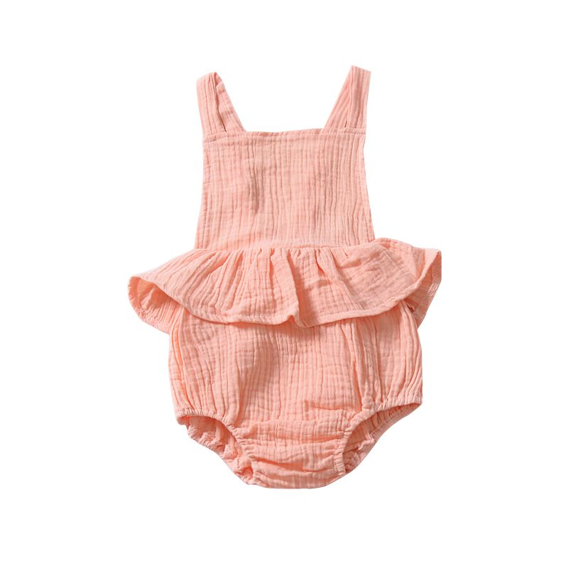 Infant Girl Backless Ruffle Suspender Romper Solid Color Playsuit