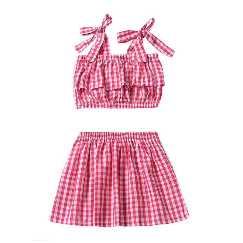 2-piece Baby Kids Girl Summer Clothes Set White & Red Checked Suspender Tank Tops+Skirt