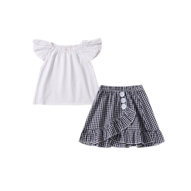 2-Piece Toddler Infant Girl Summer Clothing Outfits Set White Flutter Sleeve Blouse Tops+Buttoned Plaid Skirt