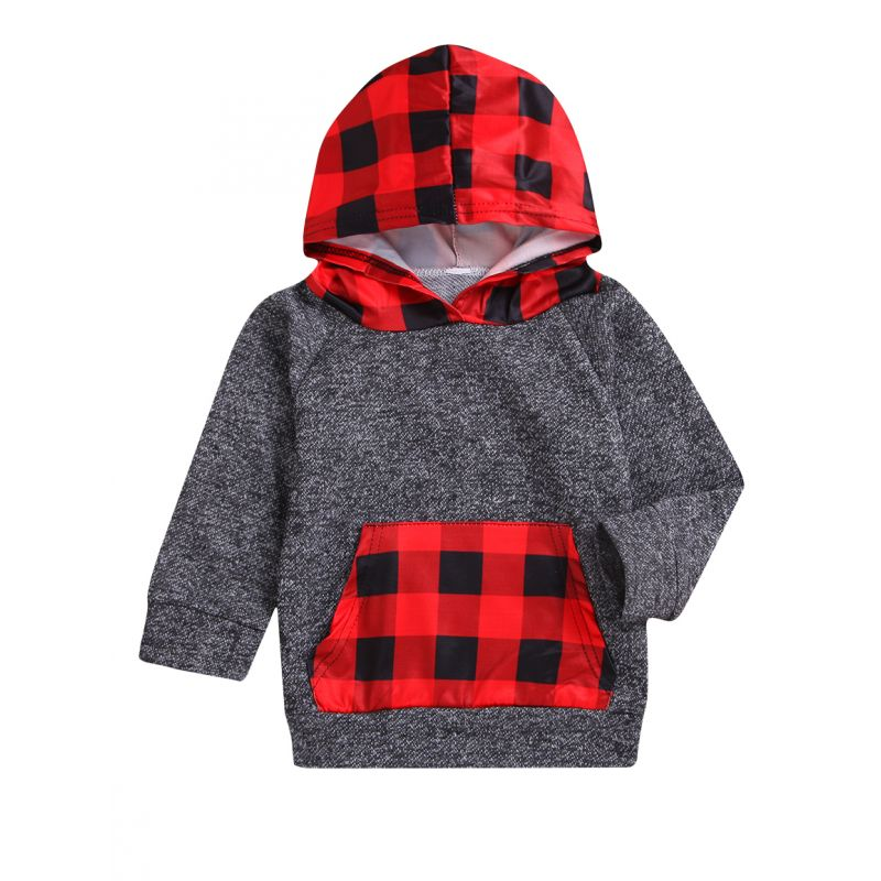 Spring Toddler Big Kids Checked Hoodie with Kangaroo Pocket