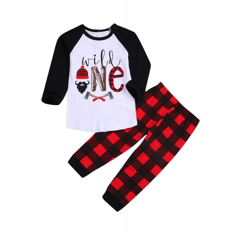 2-piece Baby Little Boys Casual Homewear Set Color-blocking Long-sleeved T-shirt+Checked Trousers