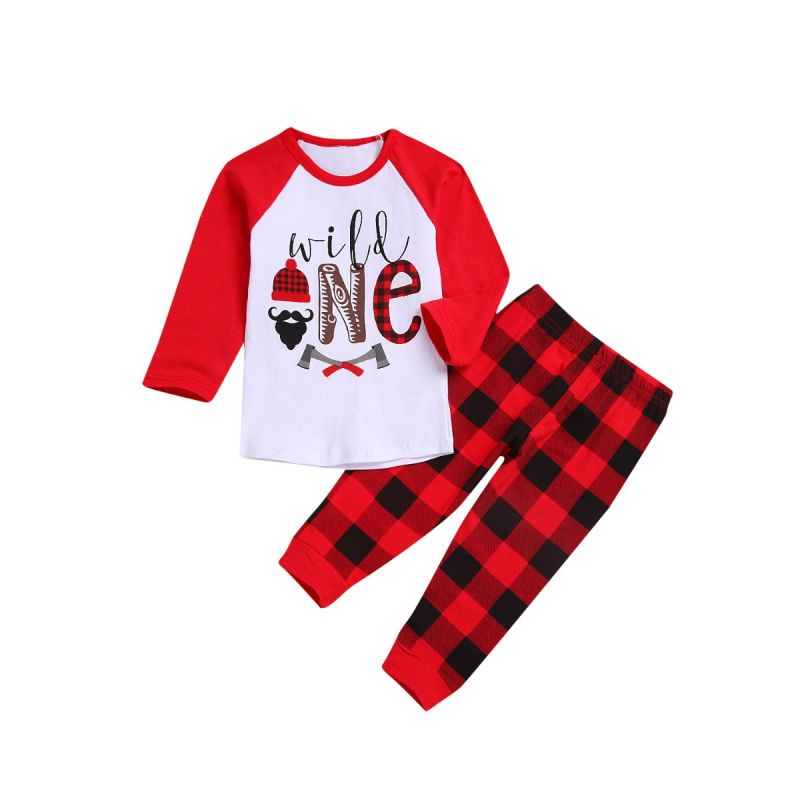 2-piece Spring Infant Little Boys Casual Clothing Set Color-blocking Long-sleeved T-shirt+Plaid Pants