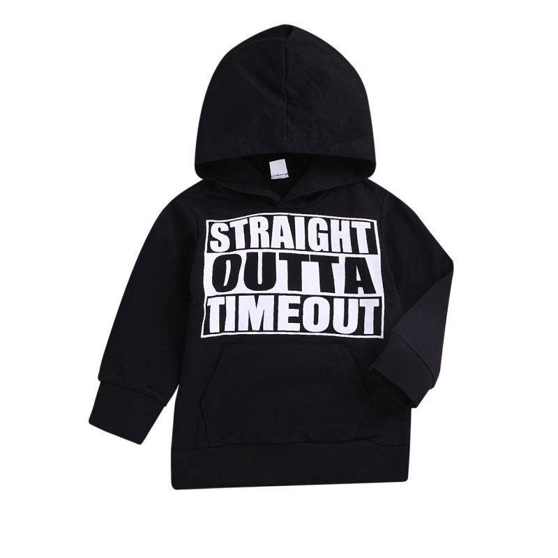 Cool Toddler Big Boys STRAIGHT OUTTA TIMEOUT Letters Print Black Hoodie Sweatshirt
