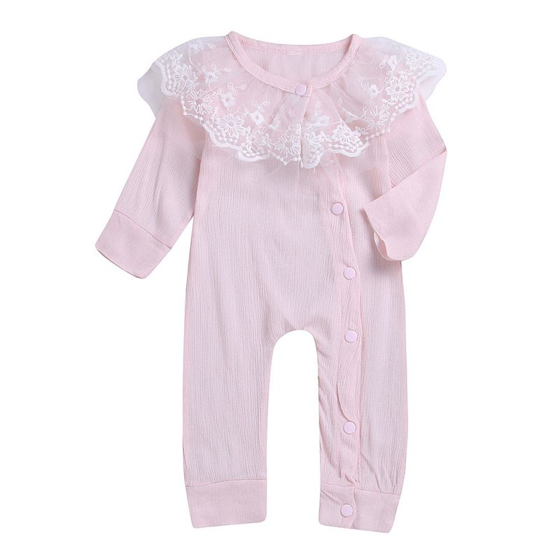 Spanish Style Baby Girl Sleepsuit Lace-trimmed Long-sleeved Overalls Pink/Yellow