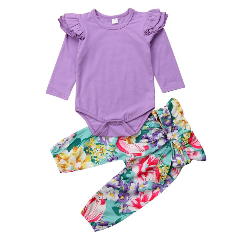 2-Piece Spring Baby Girl Casual Clothing Outfits Set Flutter Sleeve Purple Onesie+Bow High Waist Floral Pants