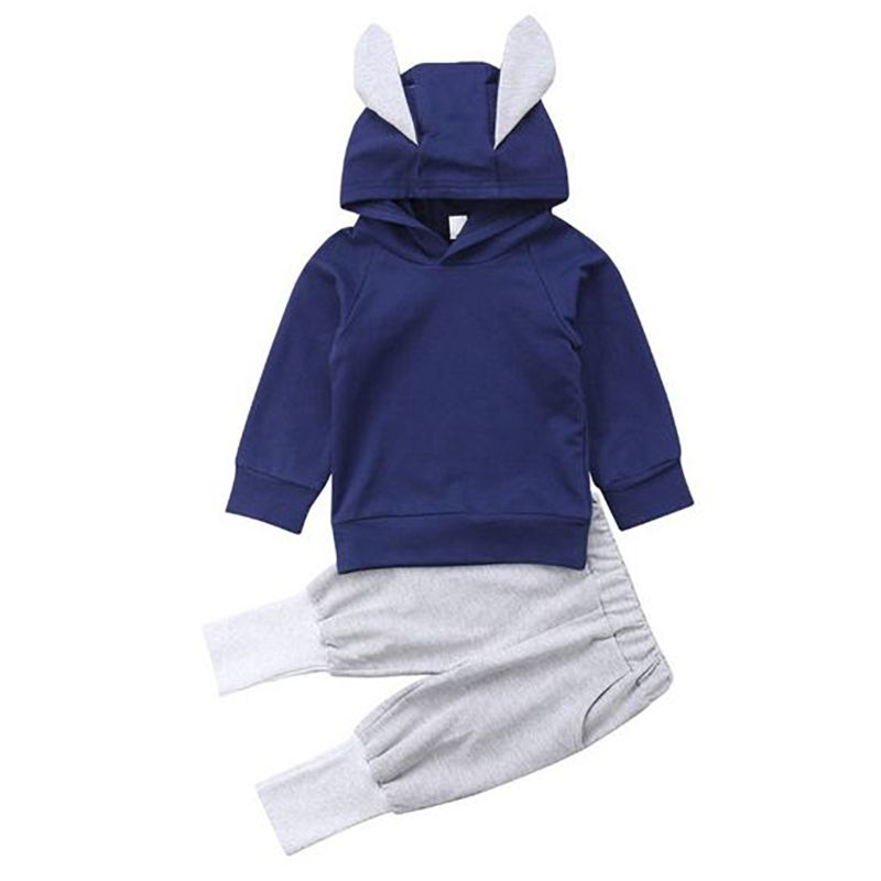 2-piece Toddler Infant Kids Spring Casual Clothes Outfit Set Long-sleeved Ear Hoodie+Pants