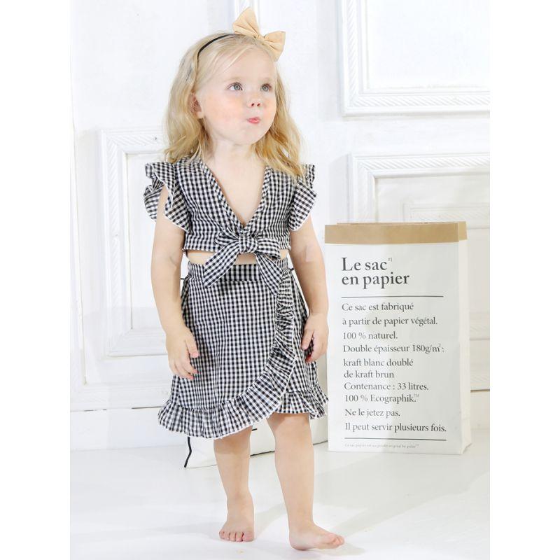 2-piece Stylish Toddler Infant Girl Summer Clothes Set Checked Tank Tops+Asymmetrical Hemline Wrap Around Skirt