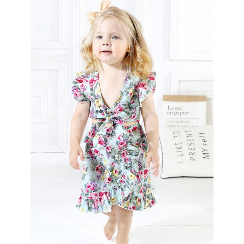 2-piece Fashion Toddler Infant Girl Summer Clothes Set Floral Tank Tops+Asymmetrical Hemline Wrap Around Skirt