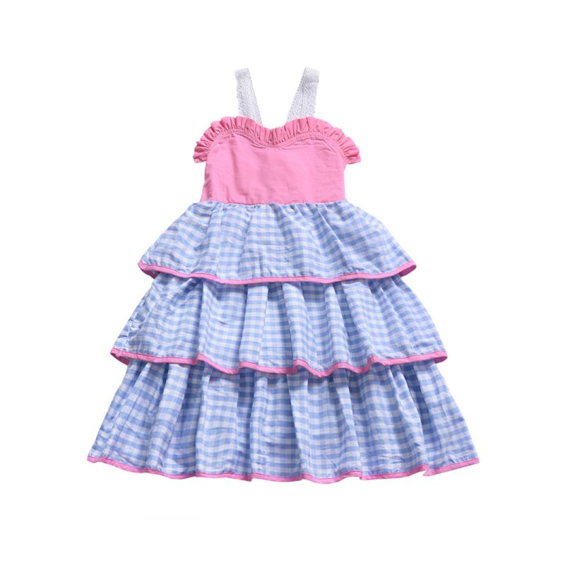 Summer Stylish Toddler Infant Girl Lace-up Bow Checked Casual Dress
