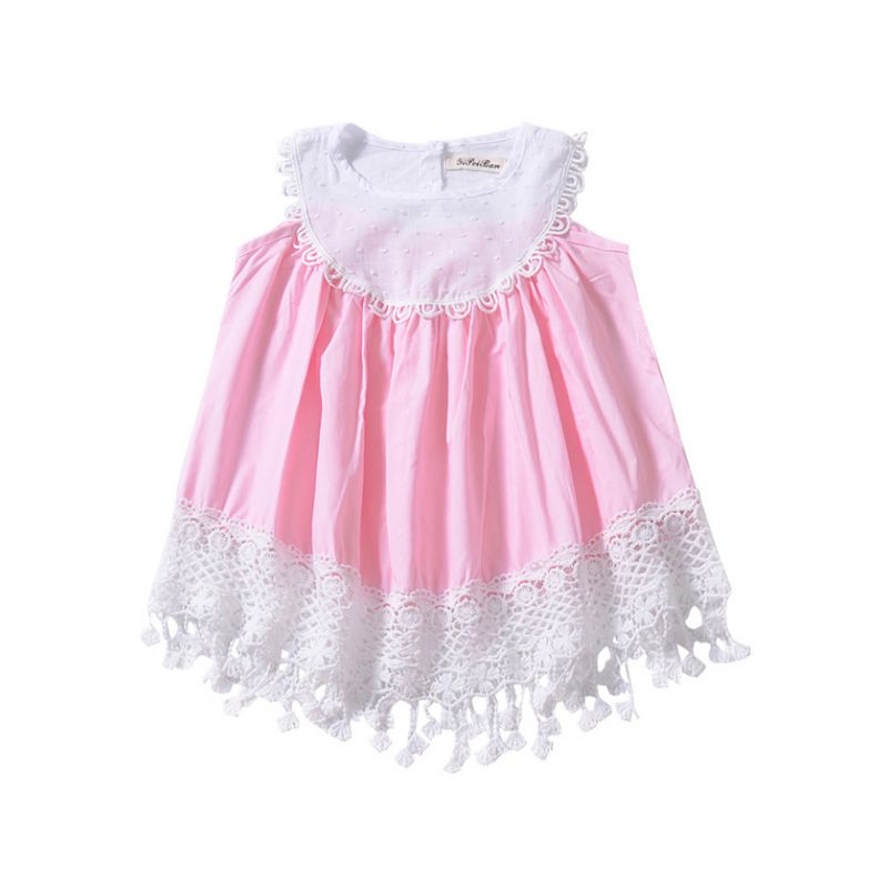 Toddler Baby Girl Lace Hollow Out Tassel Trimmed Dress Kids Summer Dress