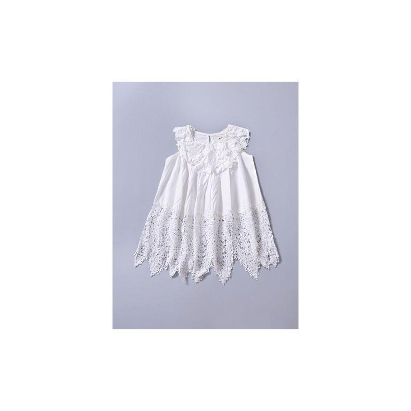 Summer Flower Hollow Out Asymmetrical Hemline Christening Baptisms Dress White
