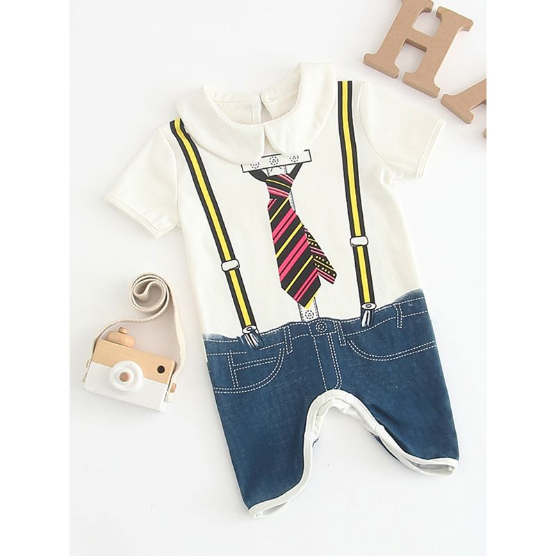 Summer Peter Pan Collar Jacket/Suit Style Print Short-sleeved Overalls for Infant Boys