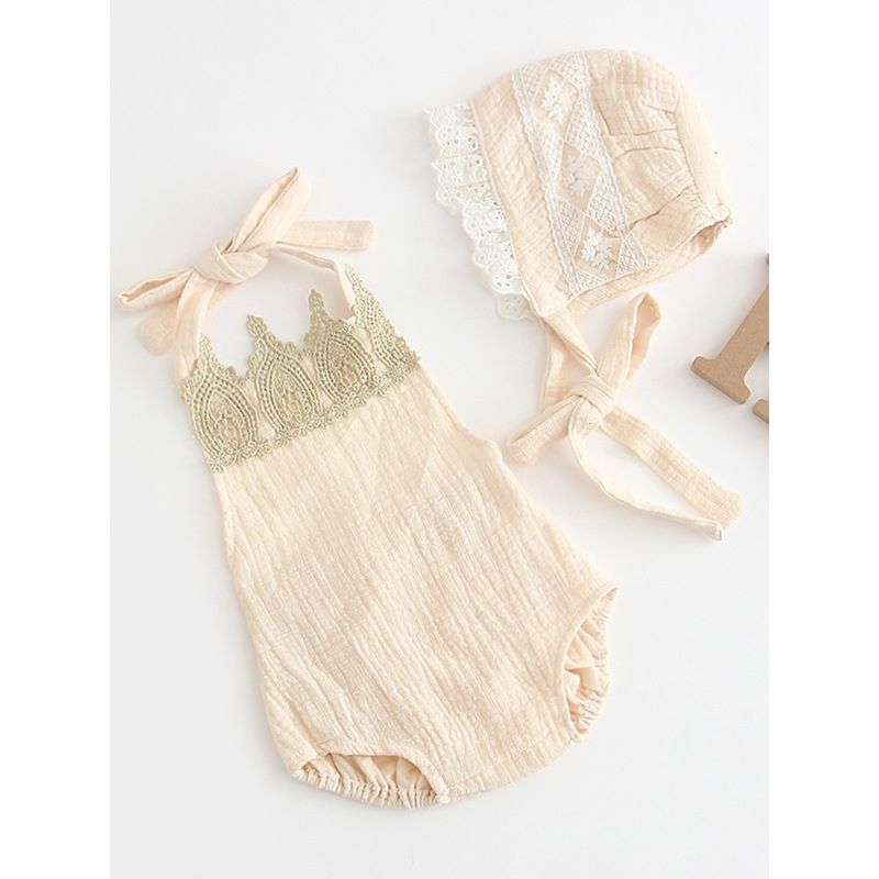 Spanish Style Infant Girl Crown Pattern Lace-up Backless Romper with Lace-trimmed Hat