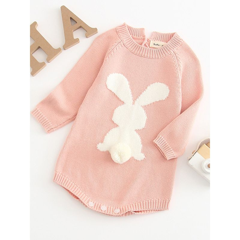 b81cbbe244e1 Spring 3D Bunny Pattern Knit Onesie Easter Spanish Style Baby Clothes