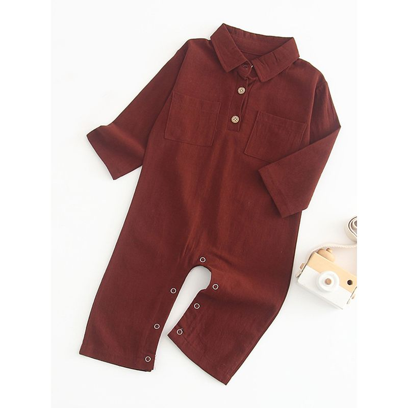 Solid Color Long-sleeved Infant Boys Girls Overalls with Pocket