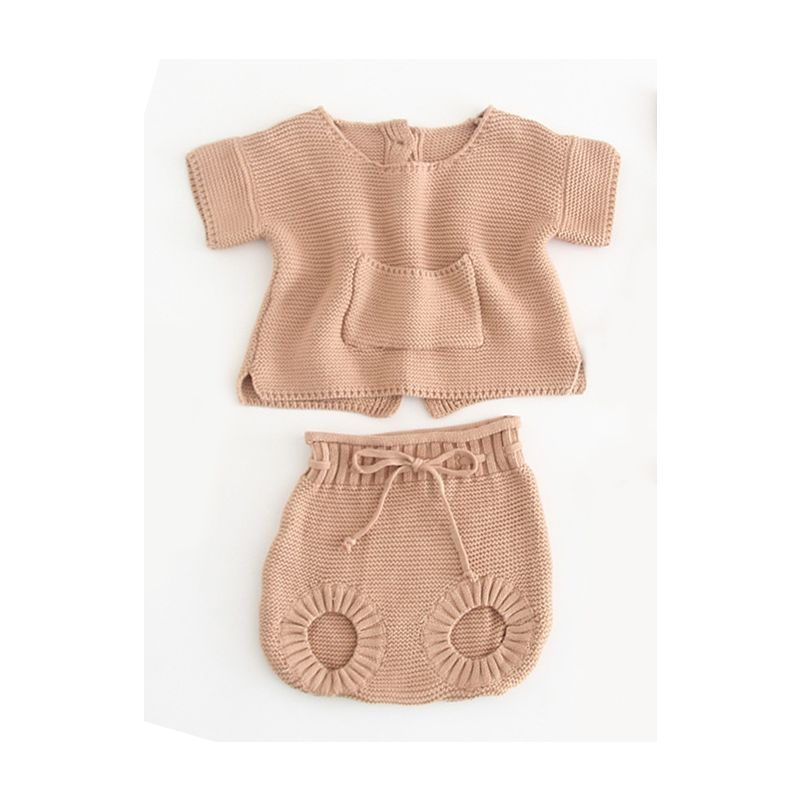2-piece Infant Knit Casual Clothing Outfits Set Short-sleeved Cardigan+Bread Pants