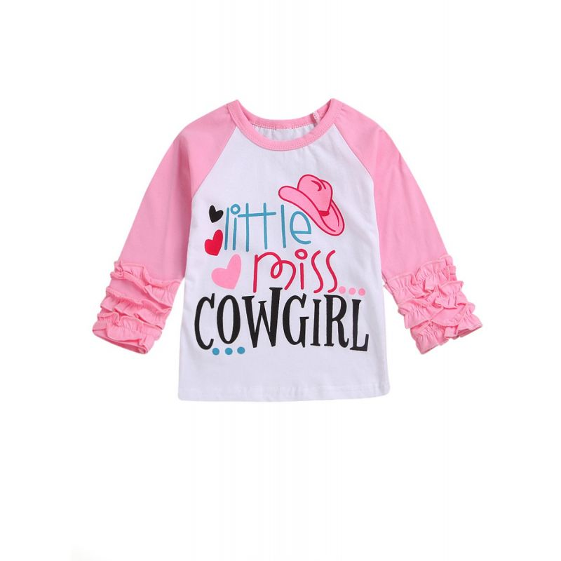 Spring Toddler Little Girl Miss Cow Girl Ruffle T-shirt Pullover Tops