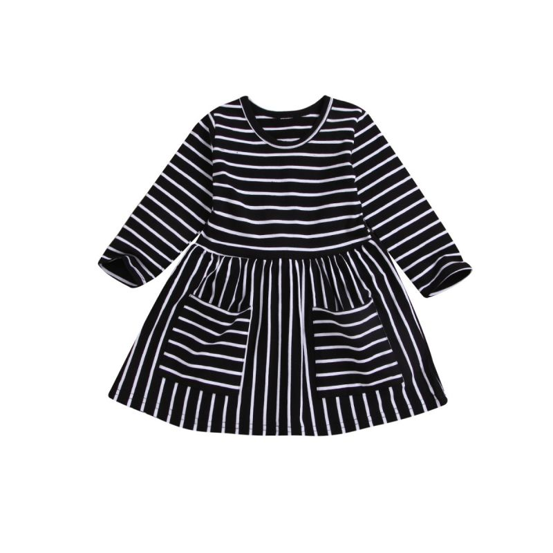 Spring Infant Little Girl Black & White Stripe One-piece Dress