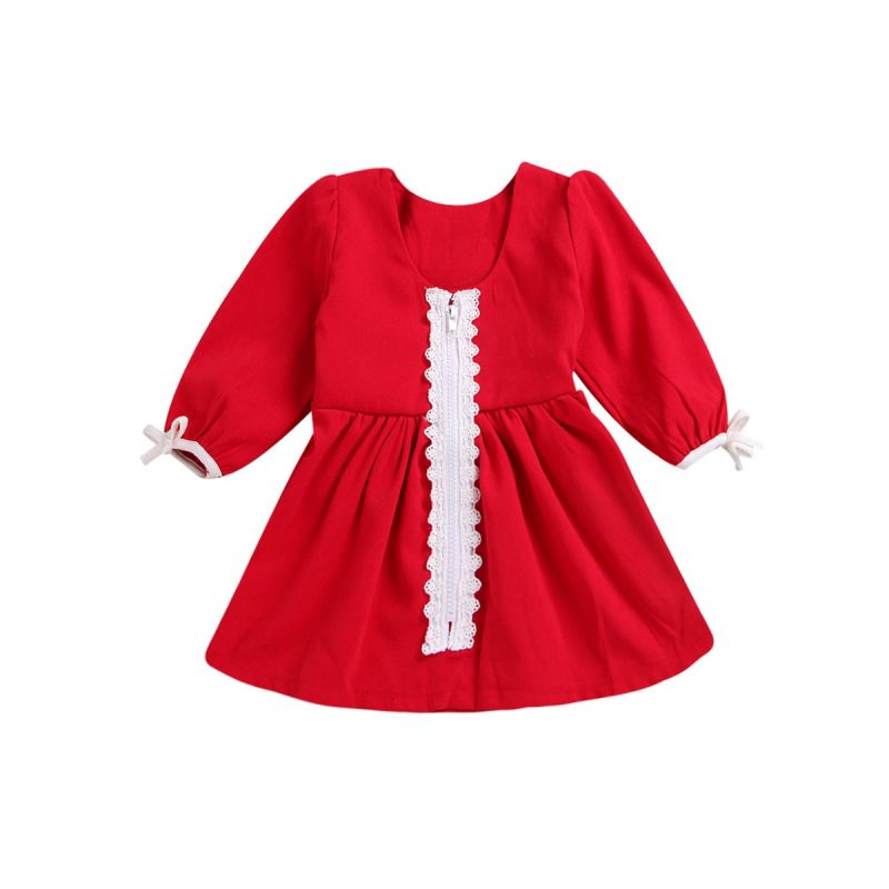 Spring Toddler Infant Girl Lace-trimmed Casual One-piece Dress