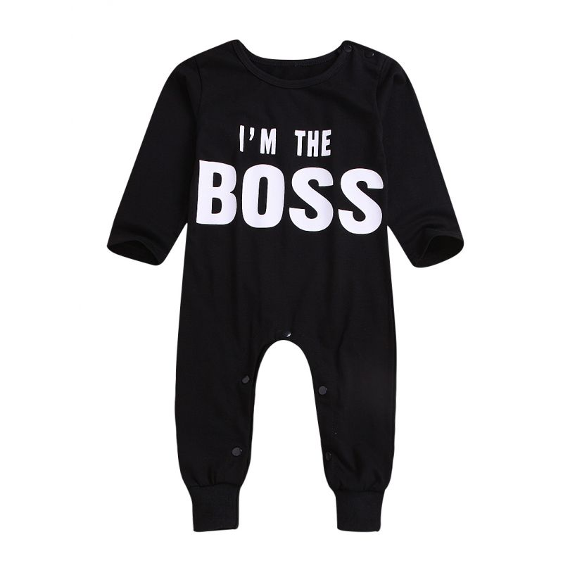 I'm THE BOSS Letters Print Infant Overalls Long-sleeved Sleepsuit