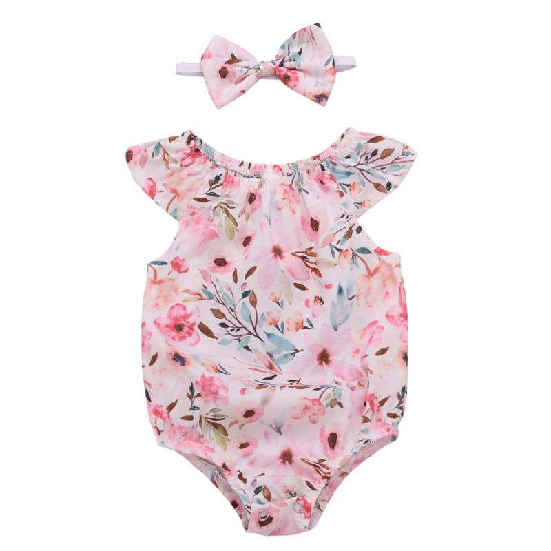 Summer Infant Girl Short-sleeved Flower Bodysuit with Headband